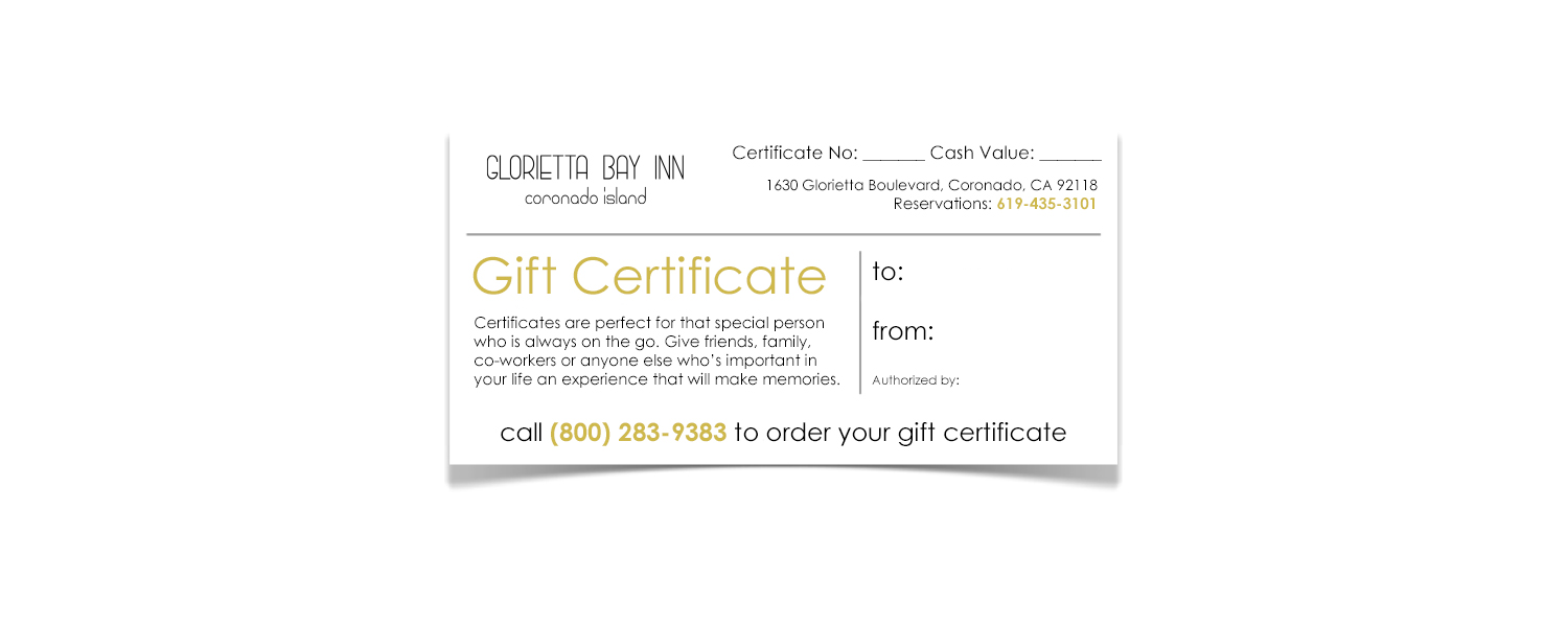 Gift Certifiace photo that can be purchased at the hotel